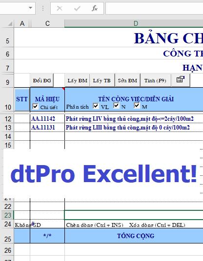 Phần mềm dự toán dtPro Excellent!