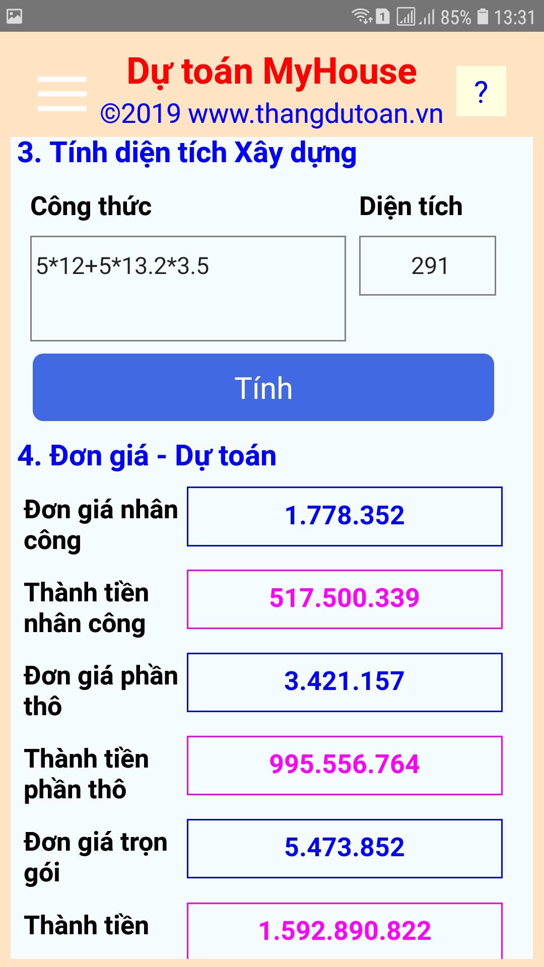 Dự toán MyHouse - App cho điện thoại và MTB