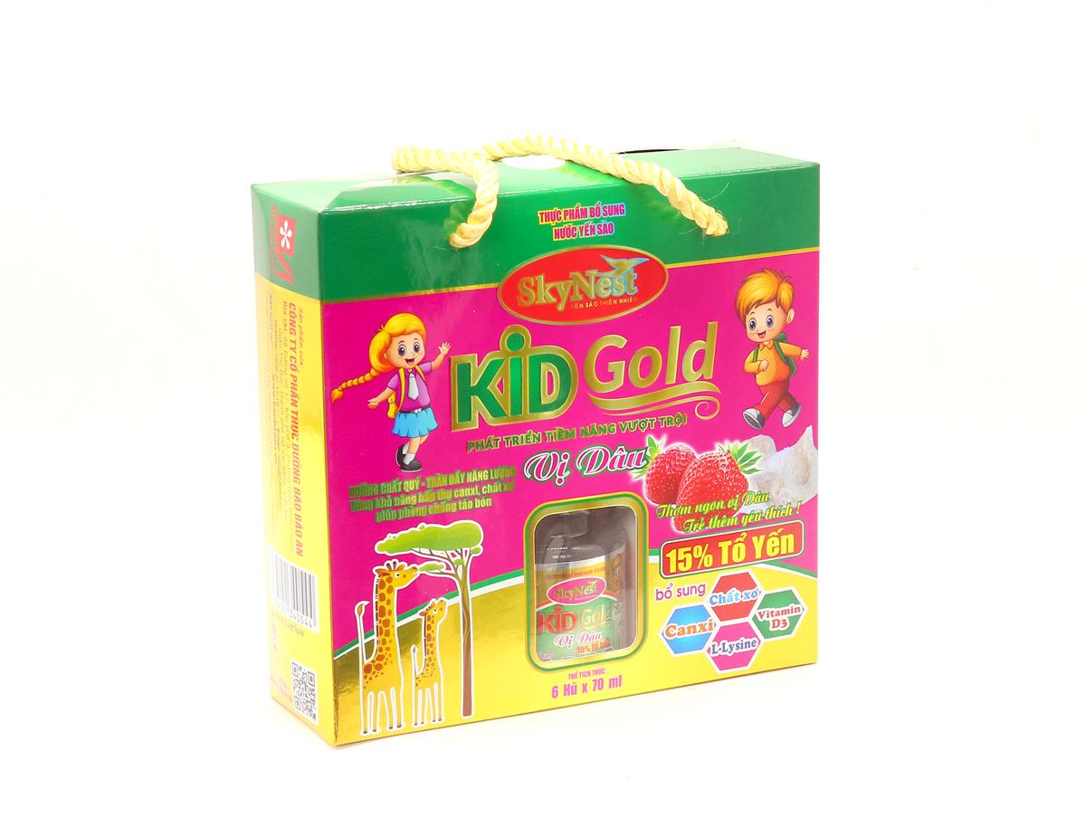 HỘP QUÀ LỐC 6 - Thực phẩm bổ sung Nước yến sào SkyNest Kid Gold vị dâu cho trẻ nhỏ - lọ 70ml