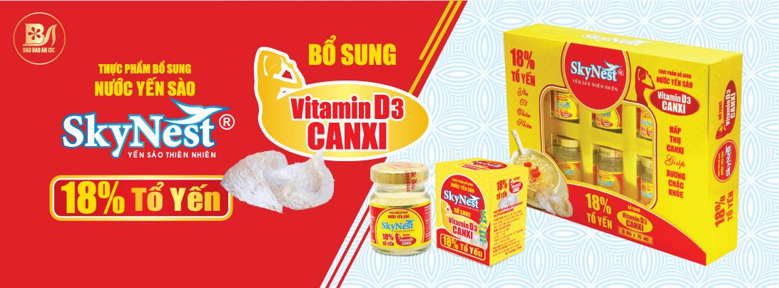 Nước Yến Sào SkyNest 18% Tổ Yến, bổ sung Vitamin D3 & Canxi