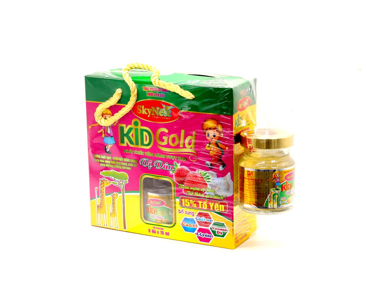 LỐC 6 TẶNG 1 - Thực phẩm bổ sung Nước yến sào SkyNest Kid Gold vị dâu cho trẻ nhỏ - lọ 70ml