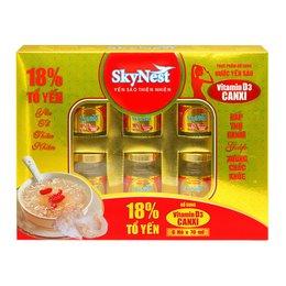 Thực phẩm bổ sung Nước yến sào SkyNest 18% tổ yến Vitamin D3 Canxi - Hộp quà 6 lọ x 70ml