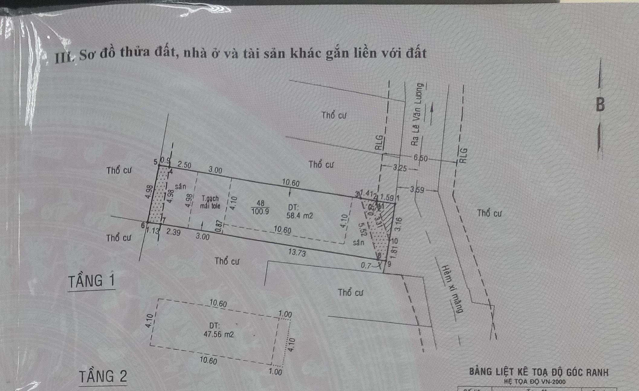 Nhà 2T hẻm xe hơi lê văn lương , 5m x 21m