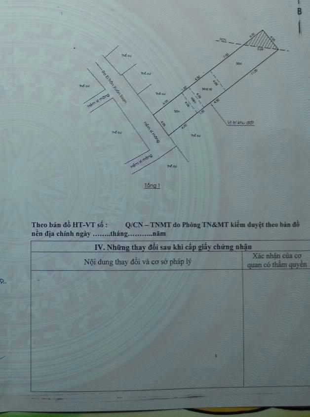 Bán nhà hẻm 793 trần xuân soạn kiều đàm ,4m x 23m, 1T-1L chỉ 6 tỷ