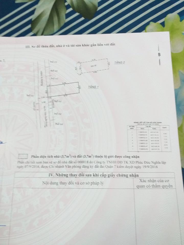 Bán nhà quận 7 hẻm 1041 trần xuân soạn , 3.5m x 10m,cấp 4 chỉ 3ty4