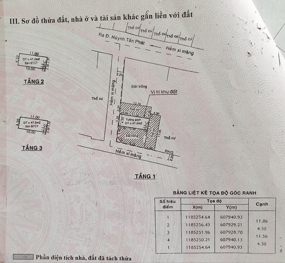 Bán nhà quận 7 hẻm 1533 huỳnh tấn phát ,4.5m x 11m, 1 trệt 3 lầu chỉ 5ty5