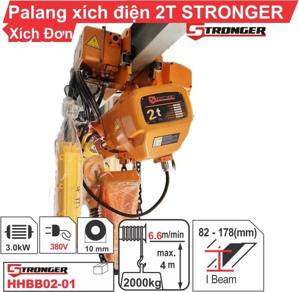 Pa lăng xích điện 2 tấn dịch chuyển Stronger siêu bền, giá rẻ