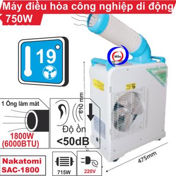 Máy lạnh di động công nghiệp Nakatomi SAC-1800