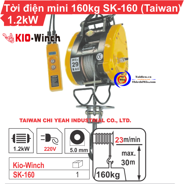 TỜI TREO MINI 160KG KIO WINCH SK-160