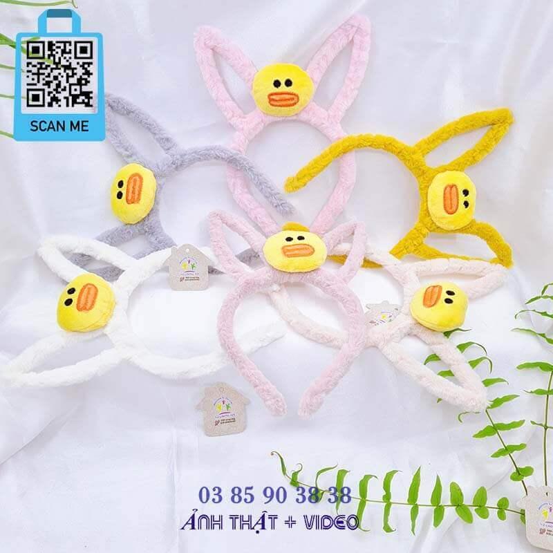 Băng đô cài tóc tai thỏ hoạt hình thú lông mịn màng xinh xắn