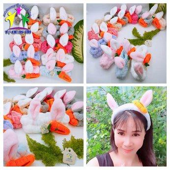 Băng đô rửa mặt tai thỏ cà rốt