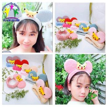 Băng đô rửa mặt trang điểm cute tai chuột Mickey Pikachu