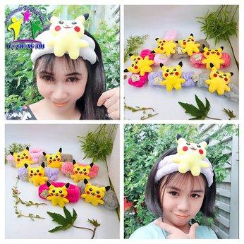 Băng đô rửa mặt trang điểm Pokemon Pikachu siêu cute