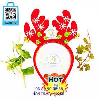 Cài Noel Giáng Sinh Sừng Tuần Lộc Bông Tuyết