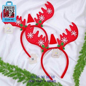 Cài Noel Giáng sinh Sừng Tuần Lộc Bông Tuyết Nón Xinh Xắn