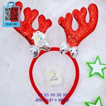 Cài Noel giáng sinh sừng tuần lộc lớn đính nơ dễ thương