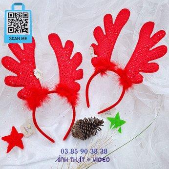 Cài Noel giáng sinh sừng tuần lộc đỏ lớn khổng lồ