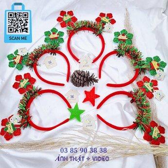 Cài Noel giáng sinh sừng tuần lộc hoa tuyết rung rinh
