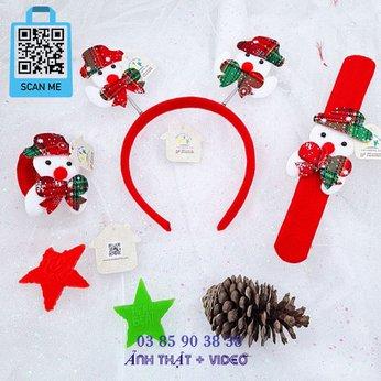 Cài Noel giáng sinh sừng tuần lộc lò xo có đèn dễ thương