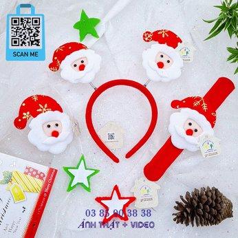 Cài Noel giáng sinh sừng tuần lộc lò xo có đèn lung linh