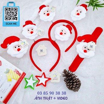 Cài Noel giáng sinh sừng tuần lộc lò xo có đèn xinh xắn