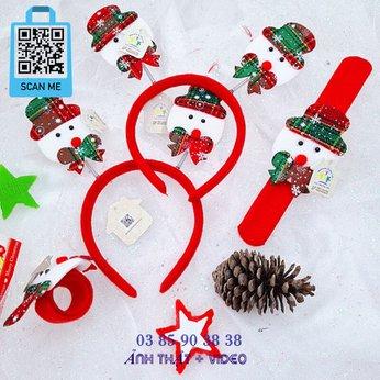 Cài Noel giáng sinh sừng tuần lộc lò xo người tuyết có đèn dễ thương