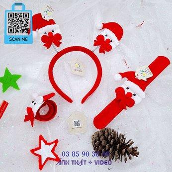 Cài Noel giáng sinh sừng tuần lộc lò xo Santa Claus có đèn dễ thương