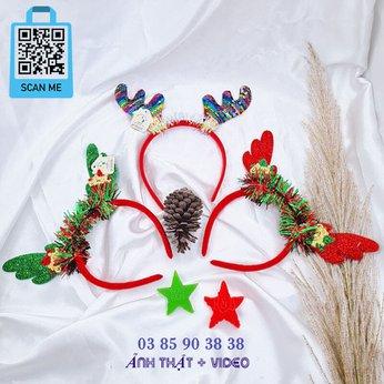 Cài Noel giáng sinh sừng tuần lộc xanh đỏ vàng siêu đẹp