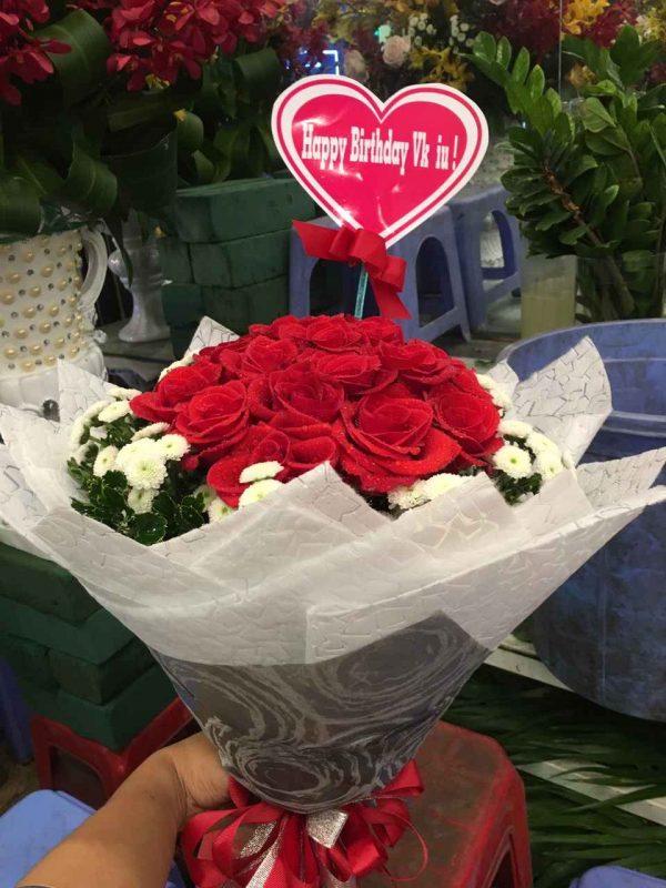 """Bó hoa hồng đỏ tình yêu """"I Love You"""""""