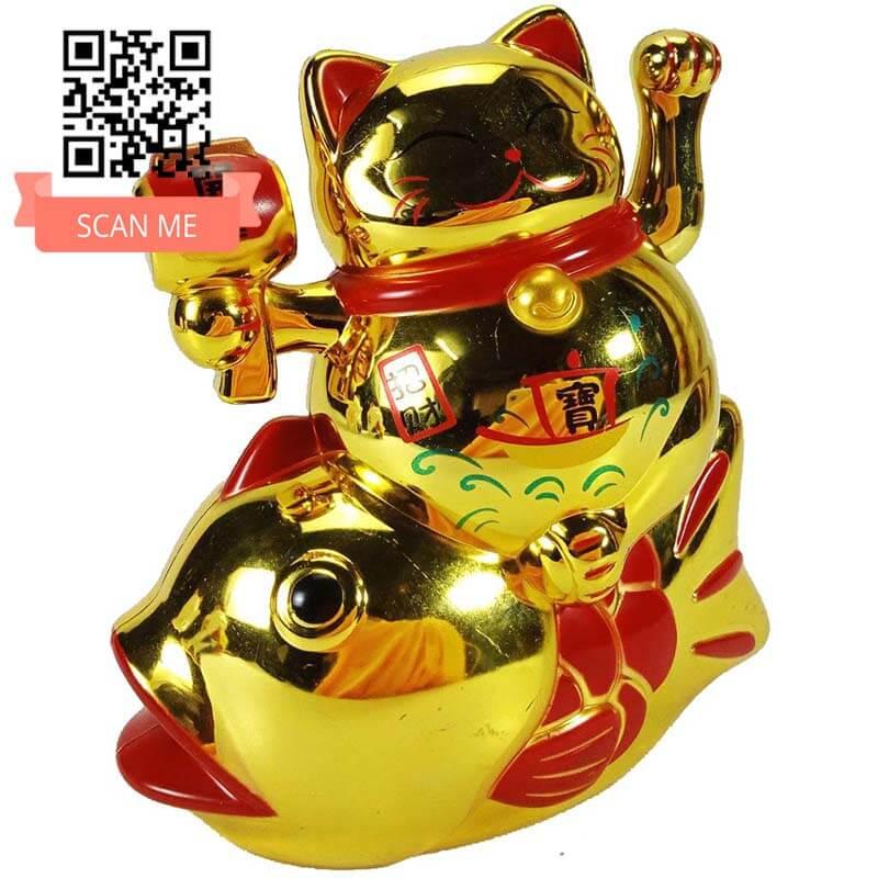 Mèo Thần Tài Cưỡi Cá Chép ĐẸP SANG CHẢNH