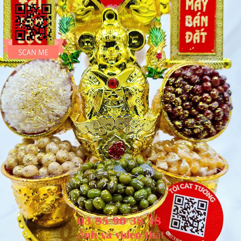 Tháp tỏi ông Địa ngọc thực thần tài túi vàng siêu đẹp