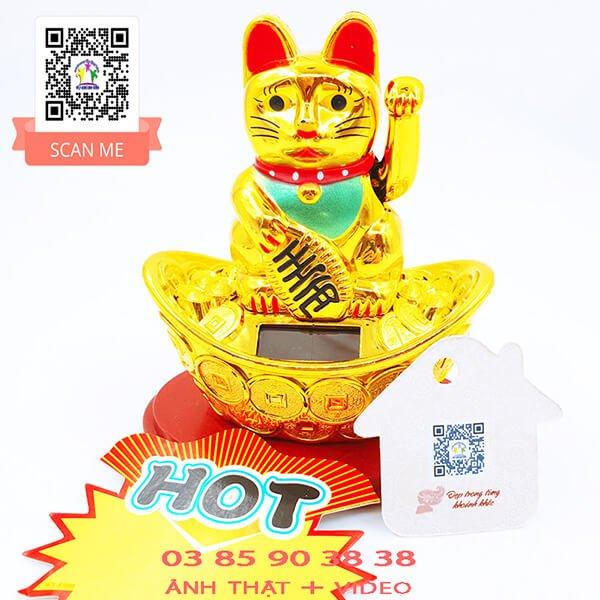 Mèo Thần Tài Mini Ngồi Trên Thỏi Vàng