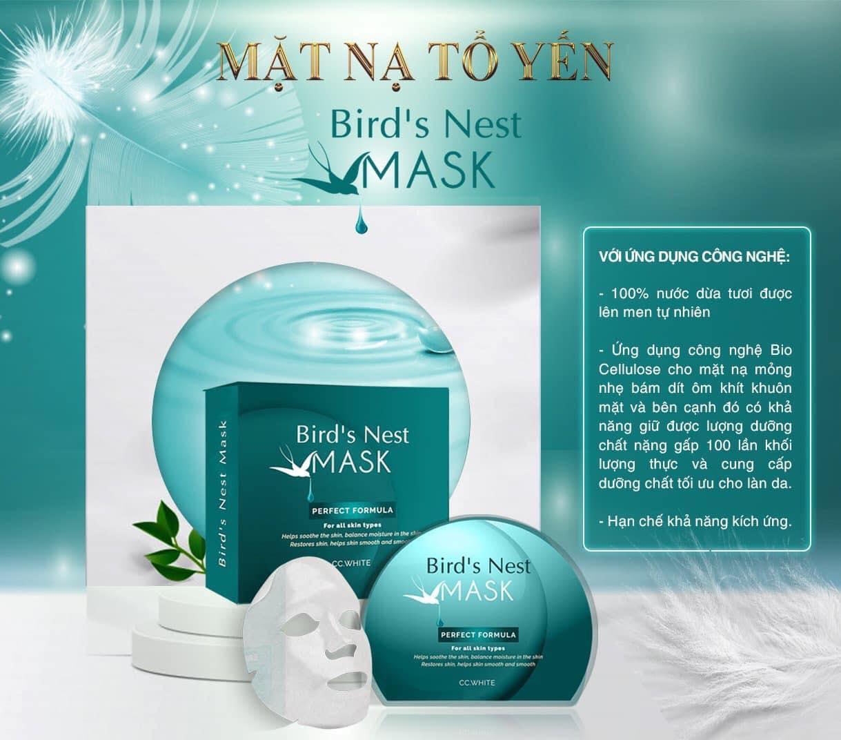Bird's Nest Mask CC White - Mặt nạ tổ yến CC White