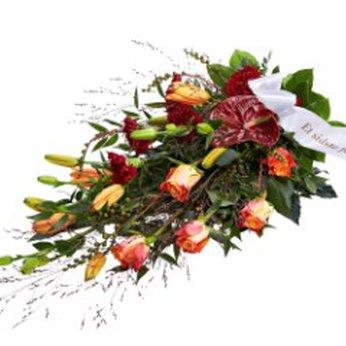 Funeral spray golden with ribbon Denmark