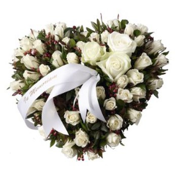 Funeral Spray Heartshaped with White Roses, 30cm Belgium