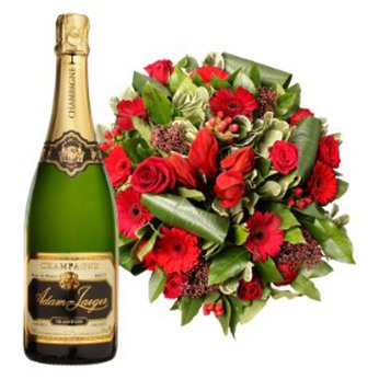 Red Bouquet with Bottle of Sparkles Belgium