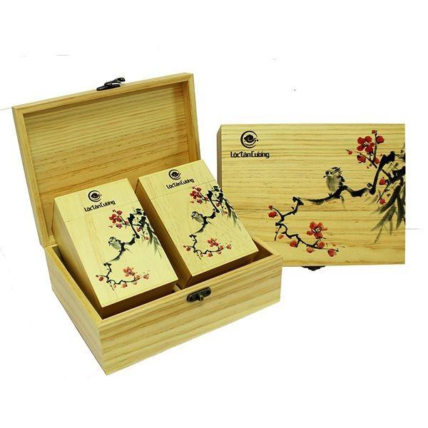 Hộp Quà Vạn Xuân 2 ( gỗ) - Trà Oolong Quý Long
