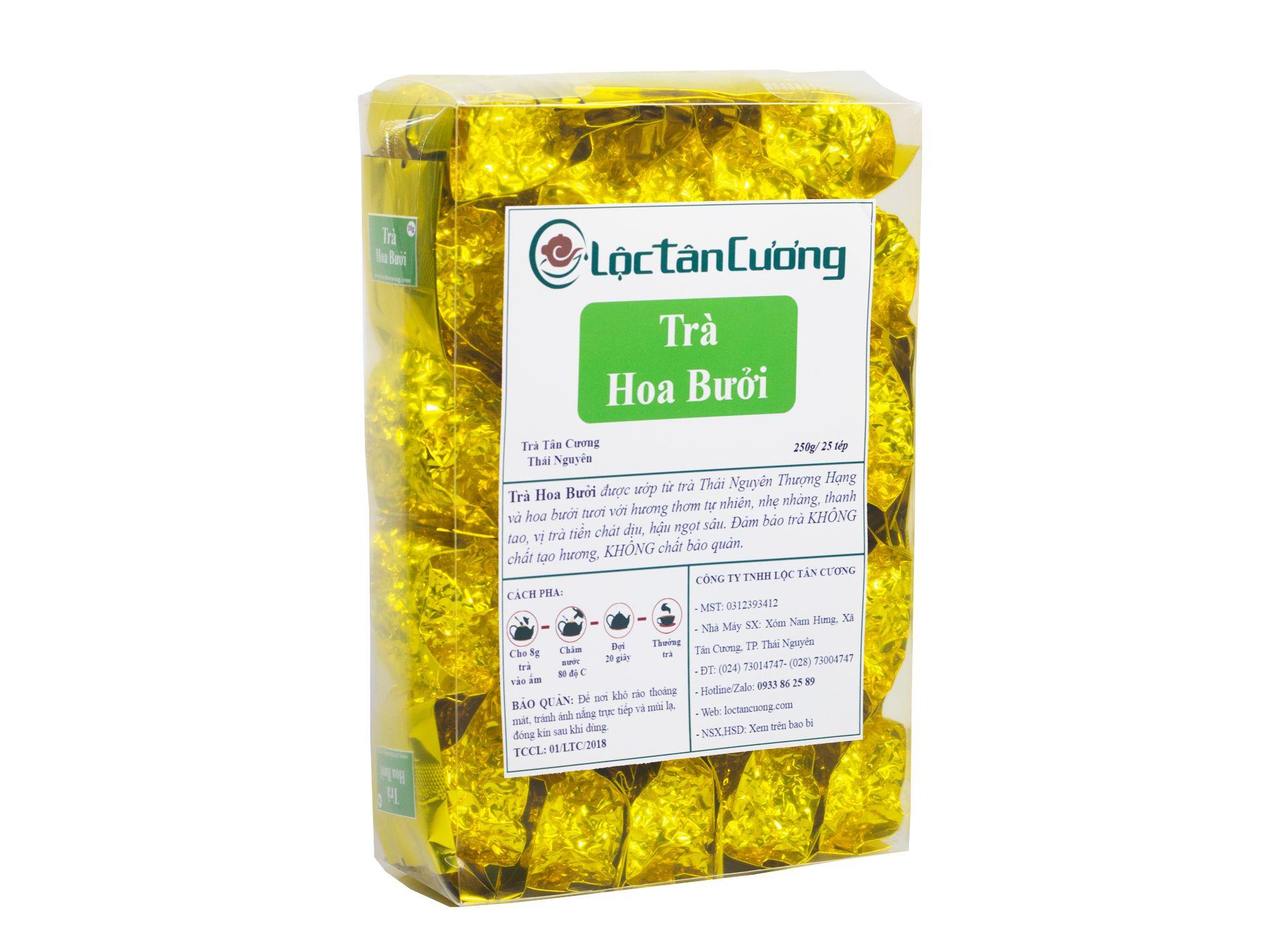 Trà ướp hoa bưởi hộp tép 250g/25 tép