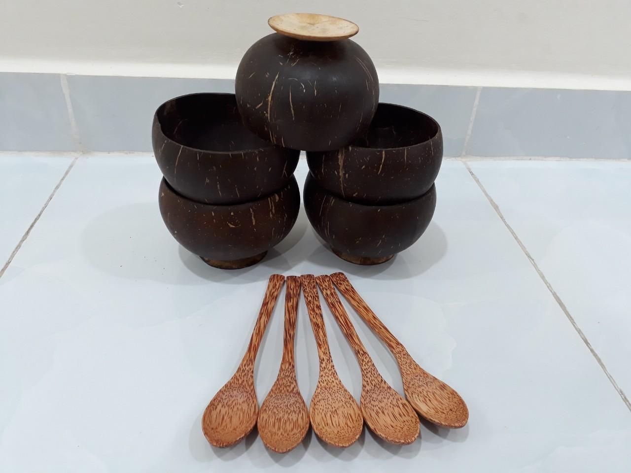 Combo Bát gáo muỗng gỗ dừa - Mỹ Nghệ Nam Trang