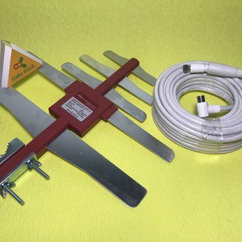 Anten có khuếch đại + Dây 15m | Dùng cho đầu thu truyền hình mặt đất | Giao hàng miễn phí