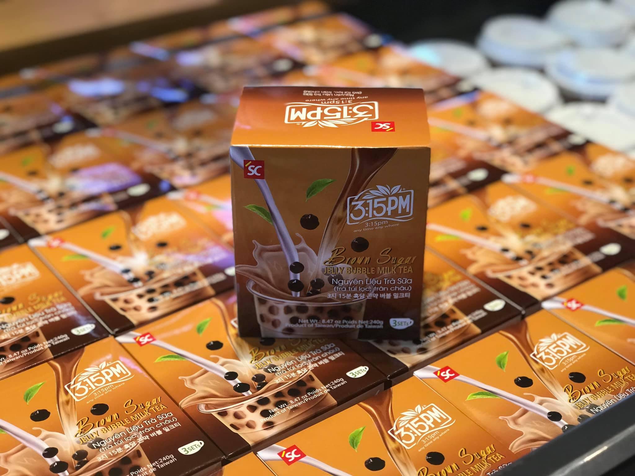 Combo trà sữa trân châu 3.15PM túi lọc đường nâu (gồm túi trà + gói hạt trân châu)