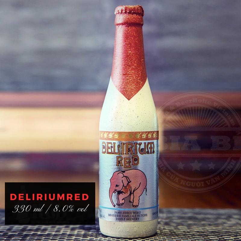 Bia đỏ cherry Bỉ nặng độ 8,0% vol | 330 ml: Bia Bỉ chai sứ Con voi hồng Delirium Red.