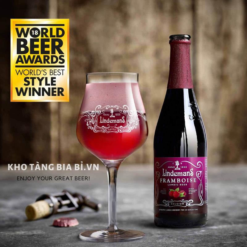 Bia Trái cây Lindemans Framboise 2,5% I Bia phúc bồn tử Ngon nhất Thế giới World Beer Awards 2018