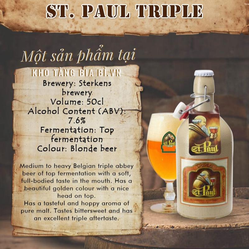 Bia chai sứ St. Paul Triple 7,6% - 500ml Kèm nắp bật - Cho những người yêu bia và yêu cái đẹp...