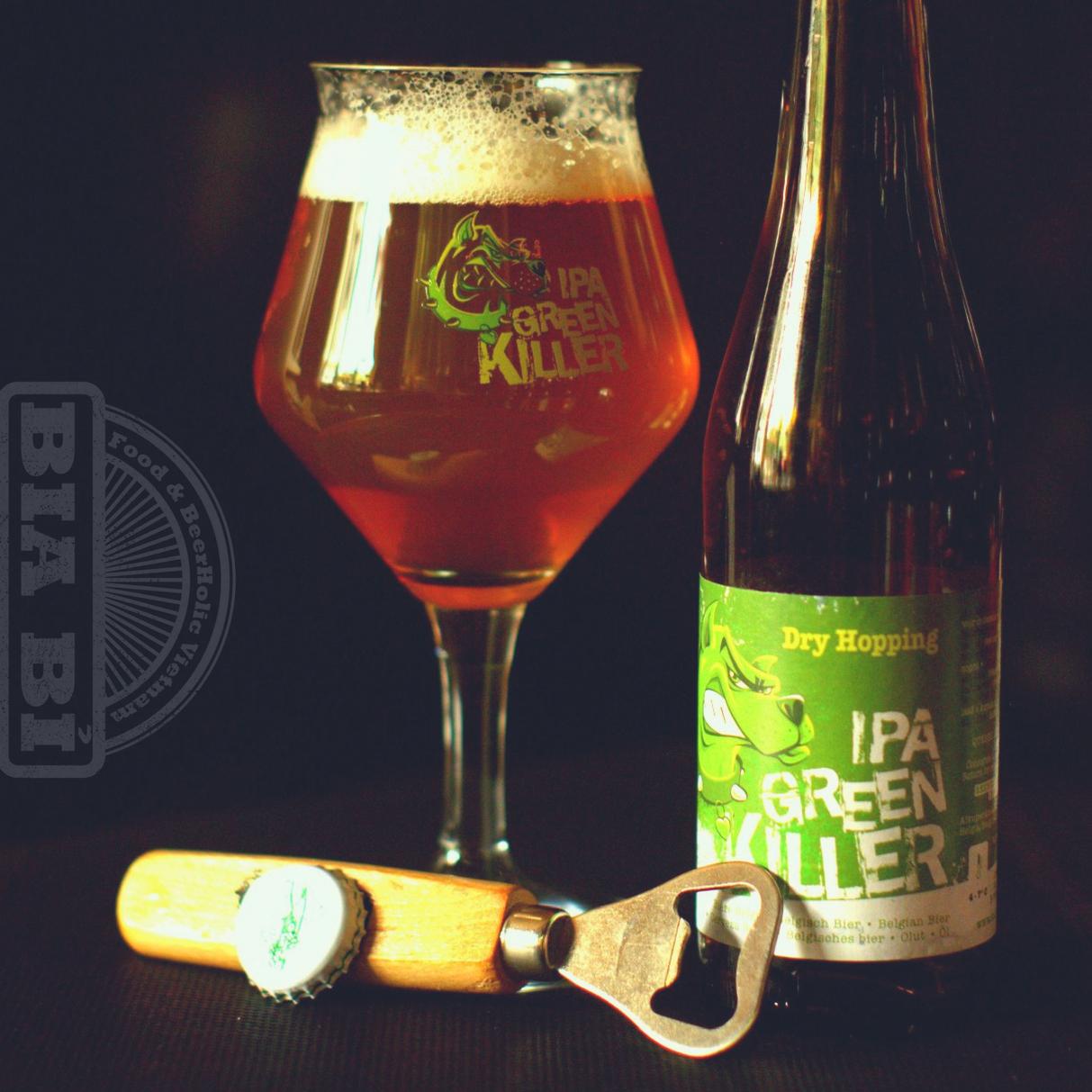 """Bia đắng Bỉ IPA Green Killer 6,5% ABV - """"Kẻ giết người màu xanh""""."""