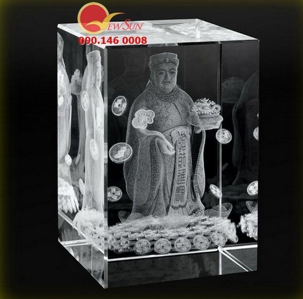 Khối Pha Lê Thần Tài - Pha lê khắc 3d