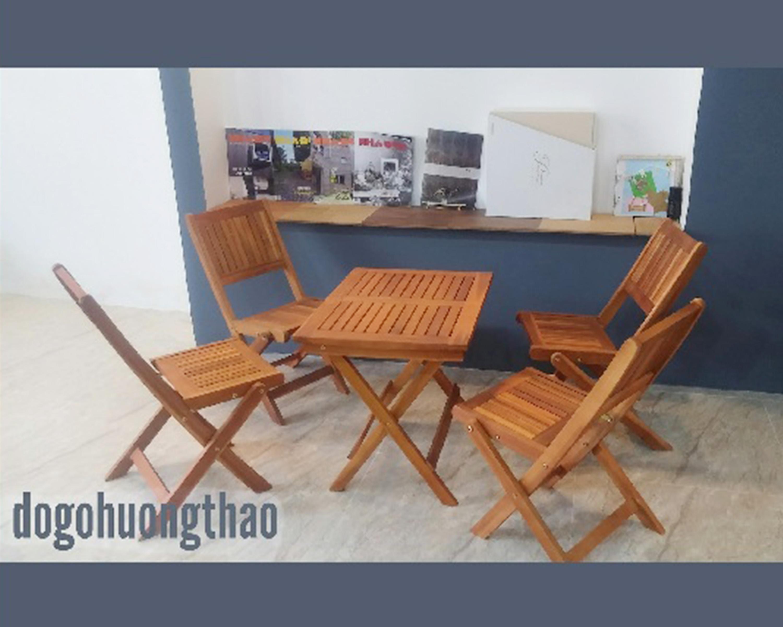 Bàn ghế gỗ xếp chữ nhật 45x60xH50cm - Wooden Folding Table Set HT-001A