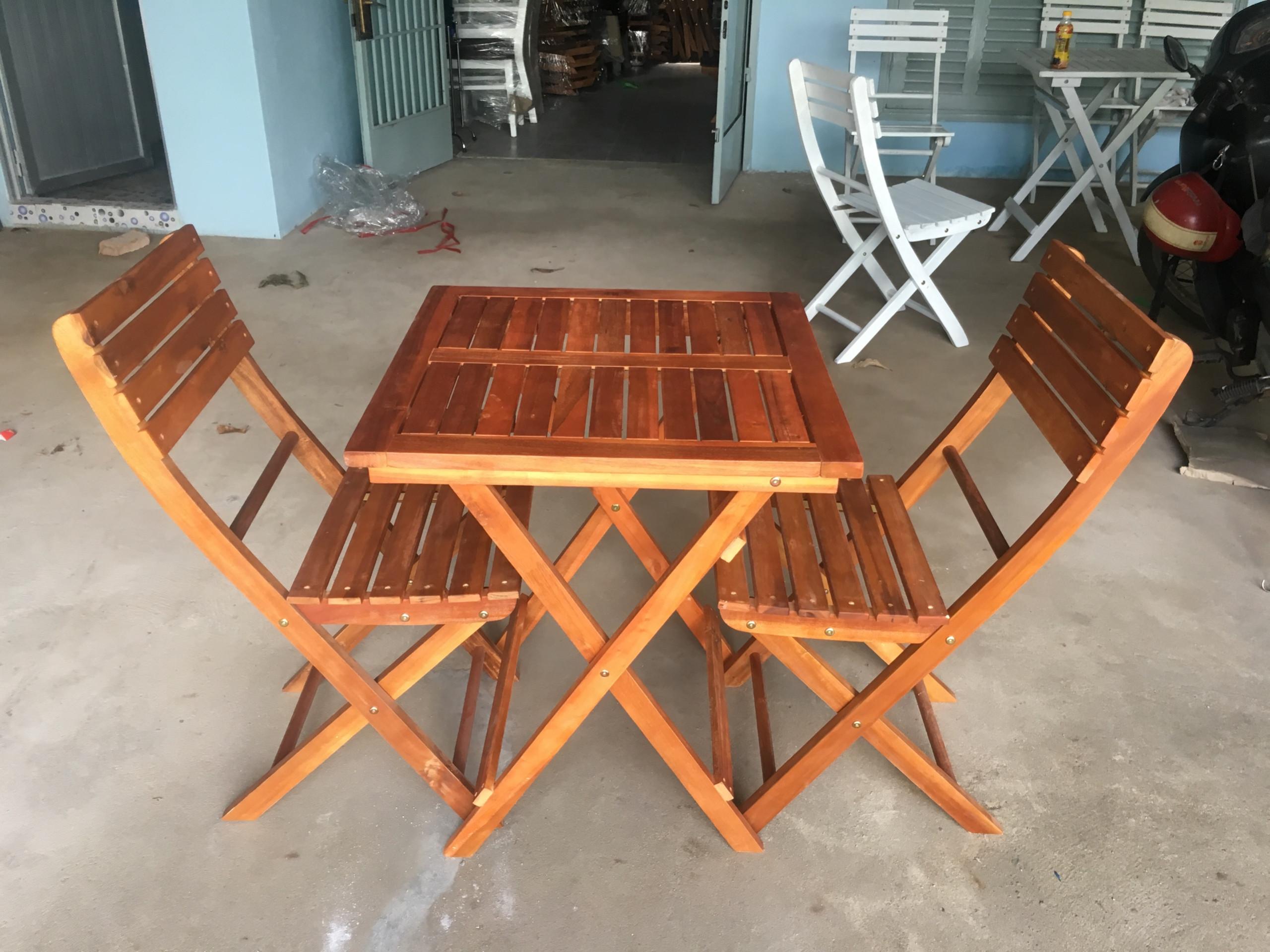 Bàn ghế gỗ xếp vuông 60x60xH73cm - Wooden Folding Table Set HT-005A