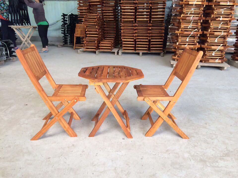 Bàn ghế gỗ xếp bát giác50xH50cm - Wooden Folding Table Set HT-002A