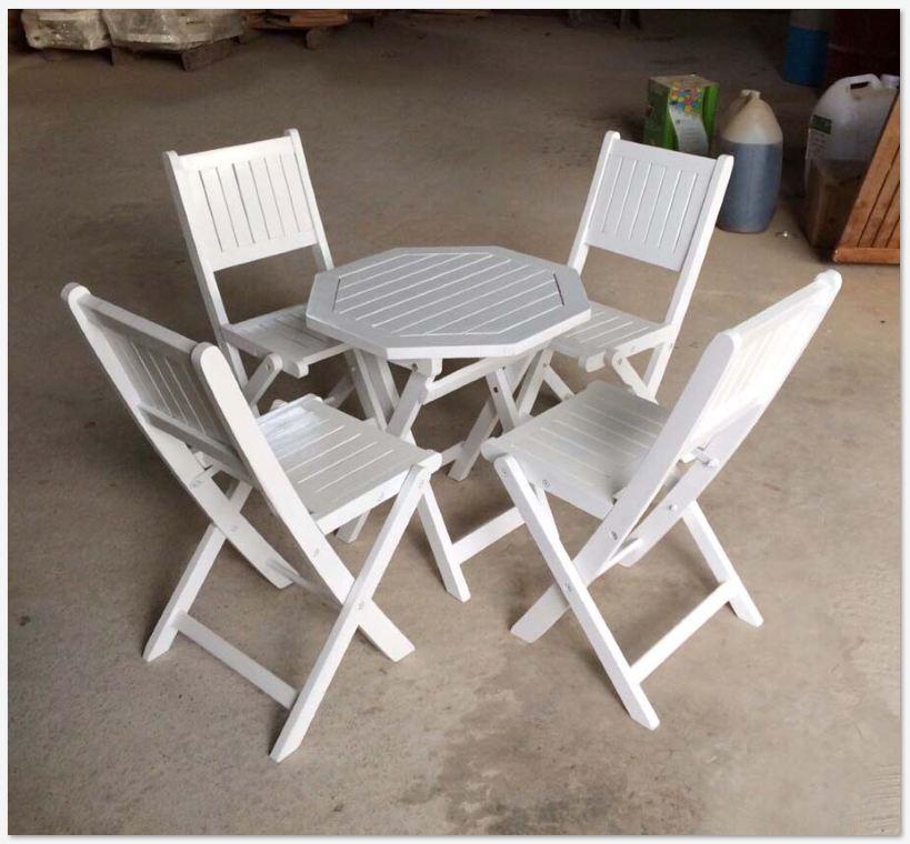 Bàn ghế gỗ xếp sơn bát giác50xH50cm - Wooden Folding Table Set HT-002B